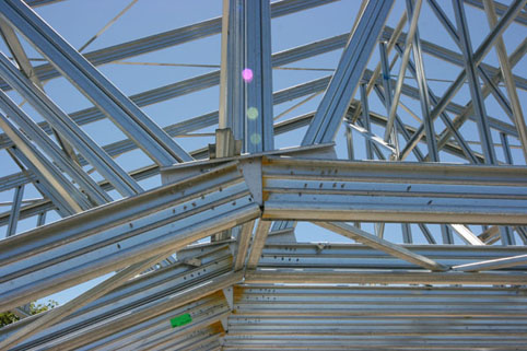 Light steel trusses allow intricate designs